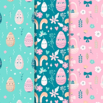 Hand drawn easter seamless pattern with spring elements