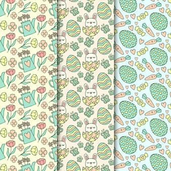 水まき缶と花と手描き下ろしイースターシームレスパターン