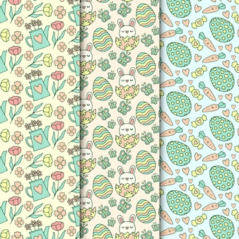 Hand drawn easter seamless pattern with watering can and flowers