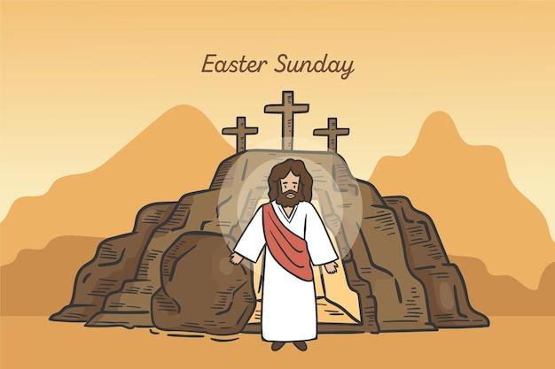 손으로 그린 부활절 일요일 그림 십자가와 예수님