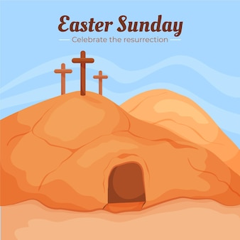 손으로 그린 부활절 일요일 그림