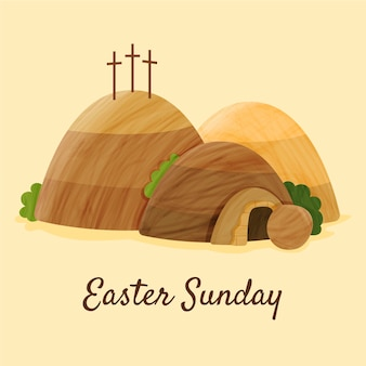 Hand drawn easter sunday illustration
