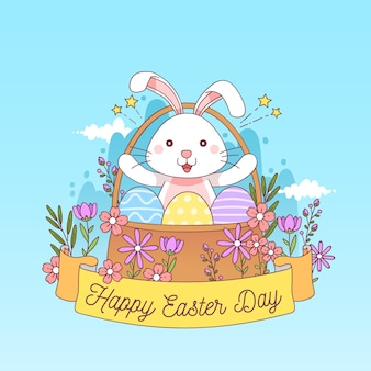 Hand drawn easter with bunny in floral basket
