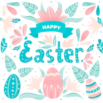 Hand drawn easter with ribbon and leaves