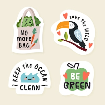 Hand drawn eco badges with quotes
