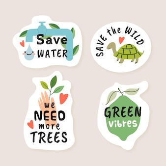 Hand drawn eco badges with recycling ideas