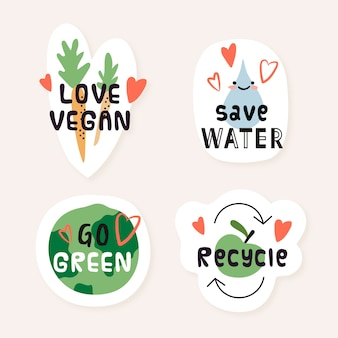 Hand drawn eco badges with recycling and veggies
