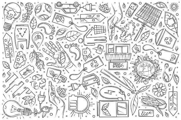 Hand drawn eco city set doodle background