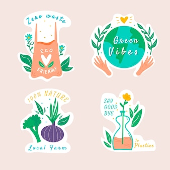 Hand-drawn ecology badge collection