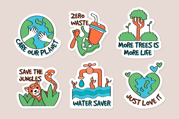 Hand-drawn ecology badges concept