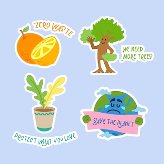 Hand drawn ecology badges set