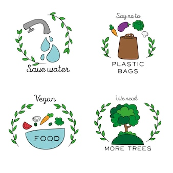 Hand-drawn ecology badges style