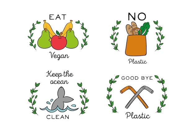 Tema di badge ecologia disegnati a mano