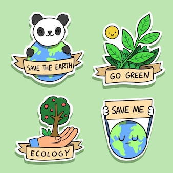 Hand drawn ecology badges with panda and earth