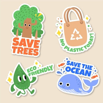 Hand drawn ecology badges with tree and whale