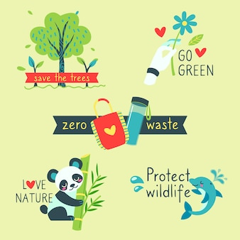 Hand drawn ecology badges with zero waste hand drawn ecology badges