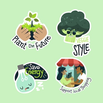 Hand drawn ecology badges