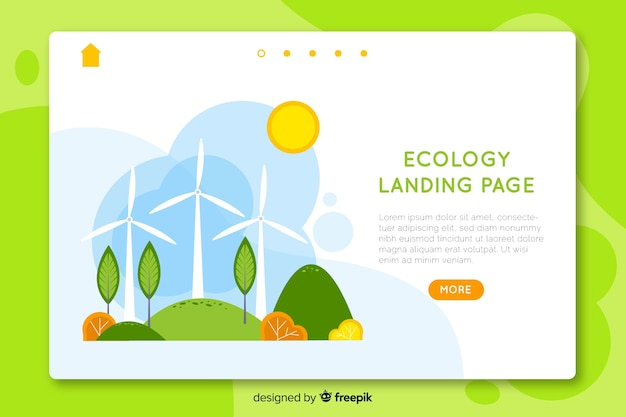 Hand drawn ecology landing page template