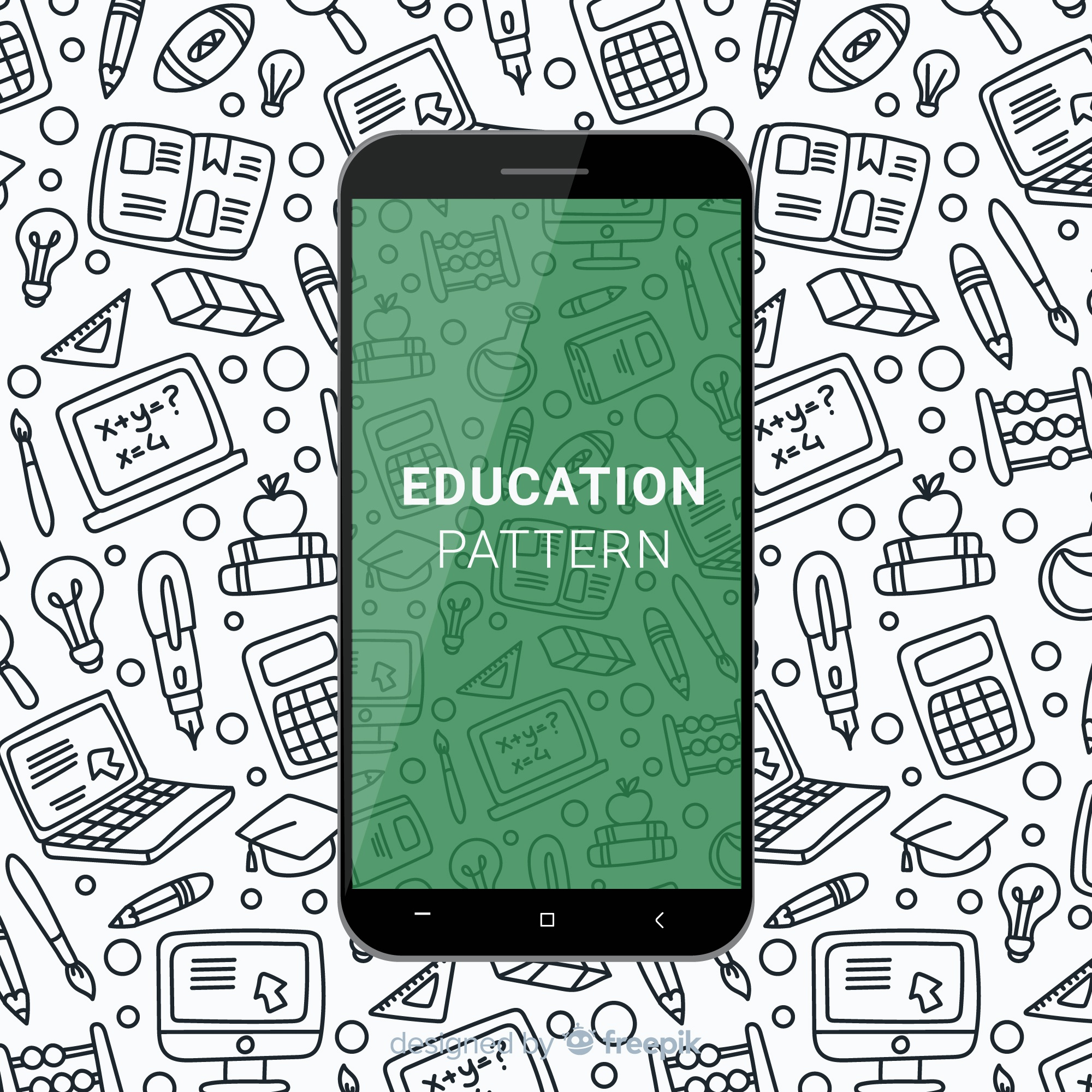 Hand drawn education mobile pattern