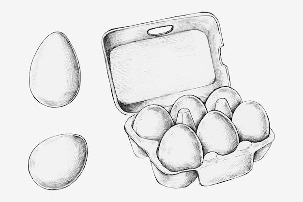Коробка для яиц, нарисованная вручную