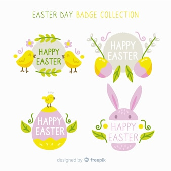 Hand drawn eggs easter badge collection