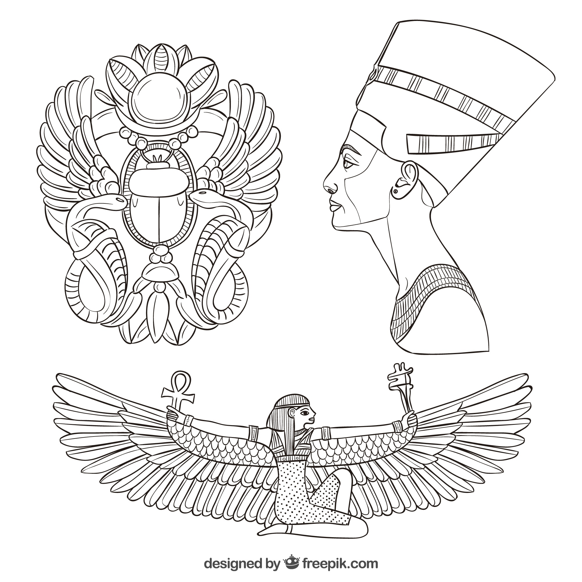 Hand drawn egypt culture elements