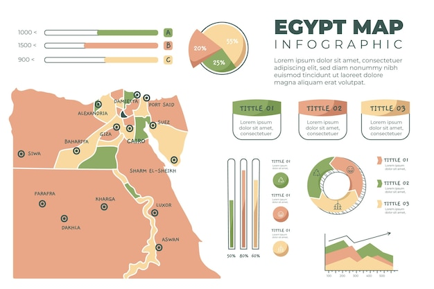 Hand drawn egypt map infographic