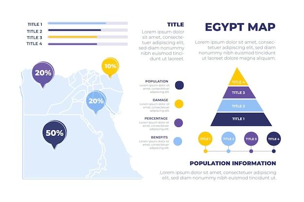 Нарисованная рукой карта египта инфографики