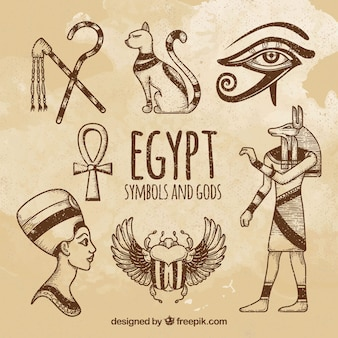Hand drawn egyptian gods and symbols collection