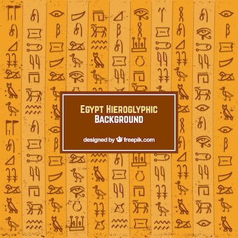 Hand drawn egyptian hieroglyphics background