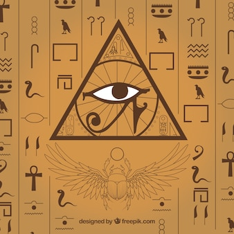 Hand drawn egyptian hieroglyphics background