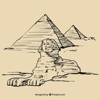 Hand drawn egyptian pyramids