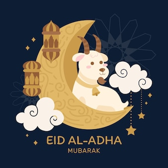Illustrazione disegnata a mano di celebrazione di eid al-adha