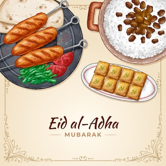 Hand drawn eid al-adha illustration