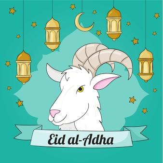 Нарисованная рукой иллюстрация ид аль-адха