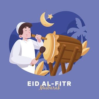 Нарисованный от руки ид аль-фитр - иллюстрация ид мубарак