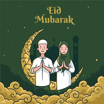 Hand drawn eid al-fitr eid mubarak illustration