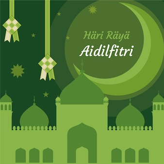 Нарисованный от руки ид аль-фитр - иллюстрация хари райя аидилфитри