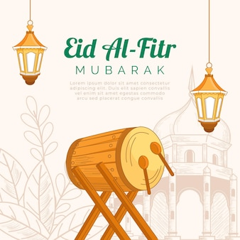 Hand drawn eid al-fitr illustration