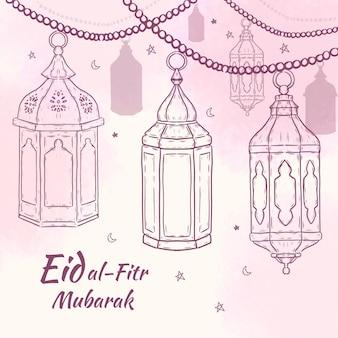 Hand drawn eid al-fitr illustration
