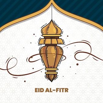 Нарисованная рукой иллюстрация ид аль-фитр