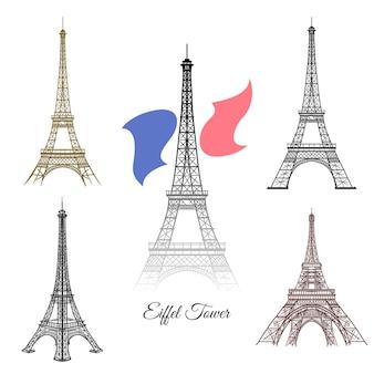 Torre eiffel disegnata a mano nel vettore di parigi. turismo di parigi francia, architettura della torre, illustrazione del monumento della torre eiffel del punto di riferimento