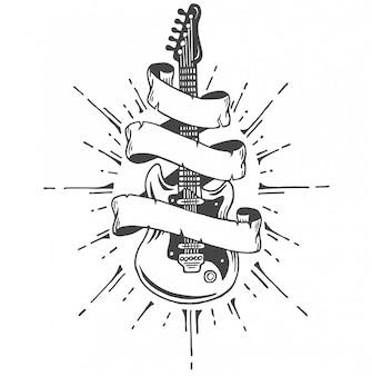 手描きのリボンとテキストのエレクトリックギター。ヘビーメタルスタイル。