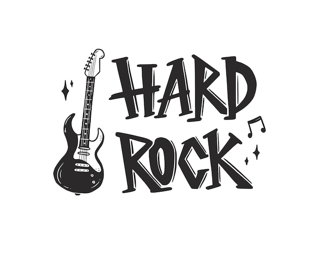 Hand drawn electric guitar with rock text