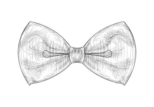 白い背景のベクトル図に手描きのエレガントな蝶ネクタイ
