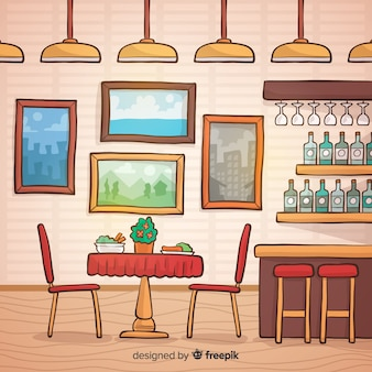 Hand drawn elegant restaurant interior