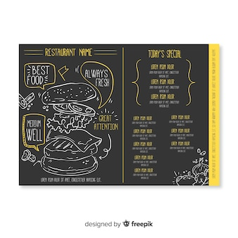 Hand drawn elegant restaurant menu template