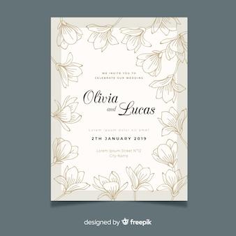 Hand drawn elegant wedding invitation template