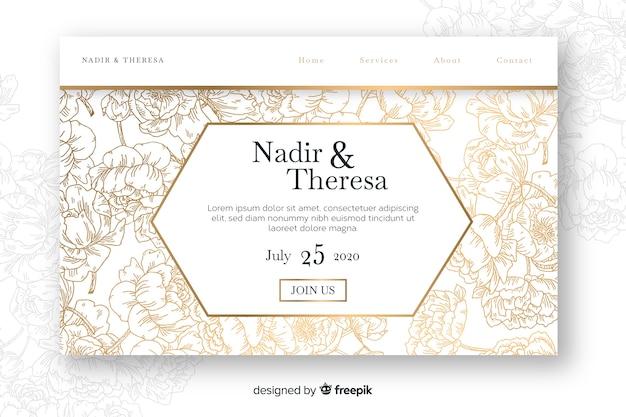 Hand drawn elegant wedding landing page template