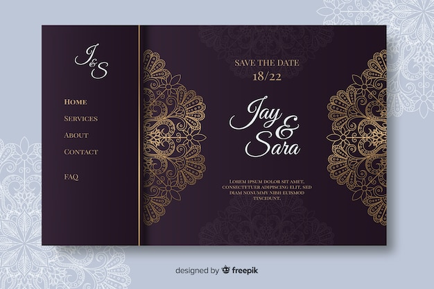 Hand drawn elegant wedding landing page template
